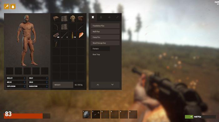 Интерфейс в игре Rust