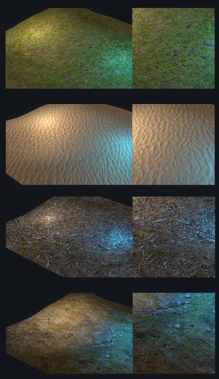Измененные текстуры почвы в игре Rust