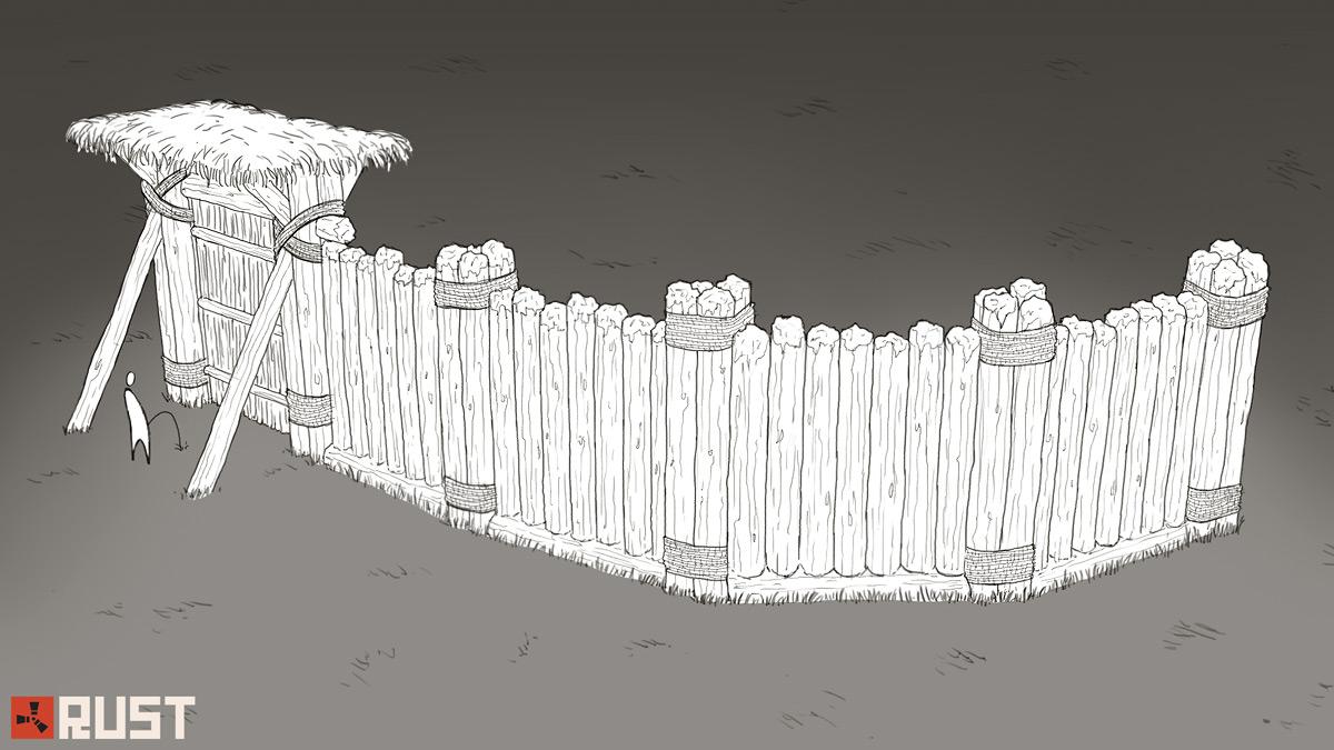 Деревянный забор с воротами