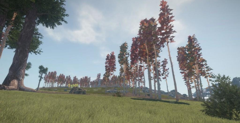 Деревья с красными листьями