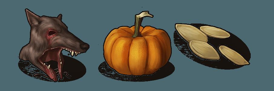 Иконки шапки из волка, тыквы и её семян